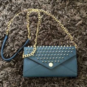 Rebecca Minkoff Blue Crossbody Studded Mini Wallet